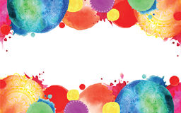 Bright blots. Frame with circles. Watercolor bright blots. Frame with circles stock illustration