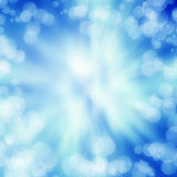 Bright blue abstract backgrond texture. With soft bubbles and beam of light Royalty Free Stock Images
