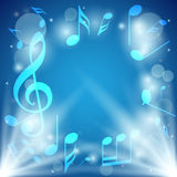 Bright blue abstract vector background with notes and bokeh Royalty Free Stock Photo