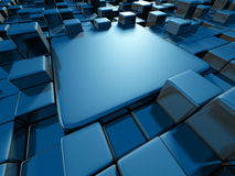 Bright Blue Abstract Cubes Blocks Background. 3d Render Illustration Stock Photo