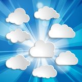 Bright blue abstract festive bokeh sun effect with clouds backgr. Ound Royalty Free Stock Photo