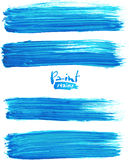 Bright blue acrylic brush strokes Stock Photo