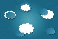 Bright blue background with clouds Stock Photo