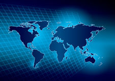 Bright blue background with map of the world - eps Royalty Free Stock Images