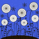 Bright blue background with white dandelions Stock Images