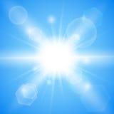 Bright blue background. Winter sun burst with lens flare. Vector illustration. Stock Vector illustration Royalty Free Stock Photo