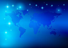 Bright blue background - vector world map Stock Images