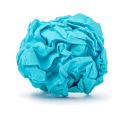 Bright blue ball crumpled paper Stock Photo