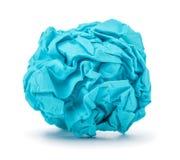 Bright blue ball crumpled paper Stock Photo