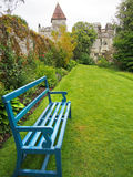Bright Blue Bench in Gardens of Lismore Castle Stock Image