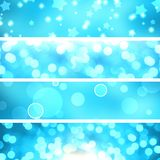 Set bright blue bokeh background banners. Royalty Free Stock Photos