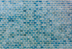 Bright blue brick wall background. stock photo