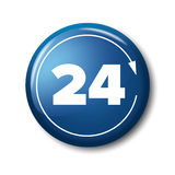 Bright blue button with digits 24 and arrow Stock Images