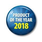 Bright blue button with words. `Product of the year 2017`. Circle label for bestseller, competition winner, rating leader. Design elements on white background Royalty Free Stock Photos