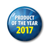 Bright blue button with words `Product of the year 2017` Royalty Free Stock Photos