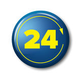 Bright blue button with yellow digits 24 and arrow Royalty Free Stock Images
