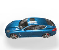 Bright Blue Car Top View Royalty Free Stock Photo