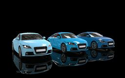 Bright Blue Cars on Black Background. High Resolution Render Of A 3D car Royalty Free Stock Photo