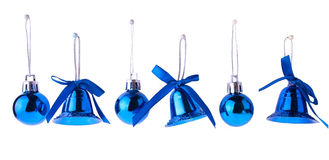 Bright Blue Christmas Toys Hanging in Row Stock Photography