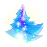 Bright blue Christmas tree Stock Image