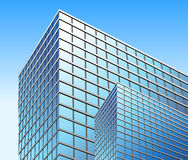Bright Blue City Business Building Stock Photo