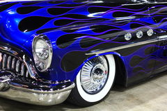 Bright Blue classic car. With a flame design paintjob Royalty Free Stock Images