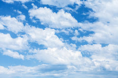 Bright blue cloudy sky background texture Royalty Free Stock Images