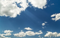 Bright blue cloudy sky Royalty Free Stock Photo