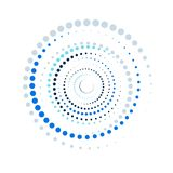 Bright blue color abstract background in minimalist style made from colorful circles. Business concept for cover. Decoration of brochure, flyer or report Royalty Free Stock Image