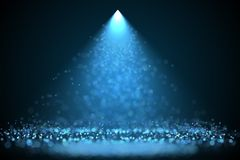 Bright blue color spotlight with falling particles. Bright blue color spotlight with falling glowing particles holyday background. Raster design template Stock Photo