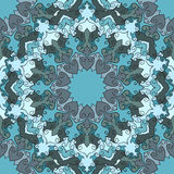 Bright blue colored hand-drawing ornamental floral abstract seamless background with many details for design of silk neckerchief Royalty Free Stock Photography