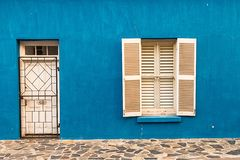 Bright blue colored home in the Bo-Kaap neighborhood Stock Photo
