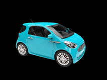 Bright Blue Compact Car. Isolated on black background Stock Photography