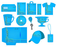 Bright blue corporate style is decorated with colorful figured l Stock Photos