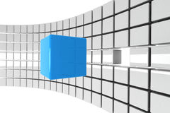 Bright blue cube detached Royalty Free Stock Photography