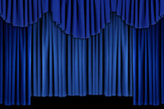 Bright Blue Curtain Drape Background Royalty Free Stock Image