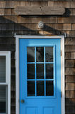 Bright blue door Stock Photos