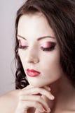 Bright blue eye evening make-up Royalty Free Stock Photography