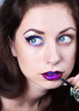 Bright blue eye make-up, beautiful woman portrait Stock Image