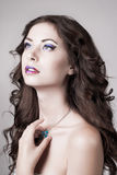 Bright blue eye make-up, beautiful woman portrait Royalty Free Stock Photo