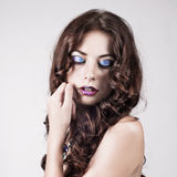 Bright blue eye make-up, beautiful woman portrait Royalty Free Stock Images