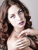 Bright blue eye make-up, beautiful woman portrait Stock Photo