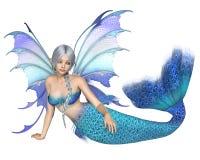 Bright Blue Fantasy Mermaid Fairy, Reclining. Fantasy illustration of a reclining silver-haired mermaid fairy with bright blue tail and wings, 3d digitally royalty free illustration