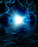 Bright blue flash with lightning Stock Images