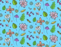 Bright blue floral pattern with doodle flowers. Bright blue floral seamless pattern with contrast colorful doodle flowers and leaves. Childish naive texture with vector illustration