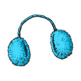 Bright blue fluffy fur ear muffs Royalty Free Stock Image
