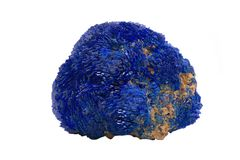 Bright blue full Azurite nodule from Russia isolated on white. Background royalty free stock photo