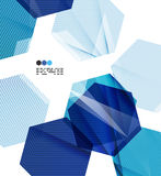 Bright blue geometric modern design template Stock Photos
