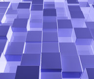 Bright Blue Glass Background With Artistic Cubes. Or Square Shapes Royalty Free Stock Photography