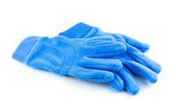 Bright blue gloves. Isolated on white background Royalty Free Stock Image